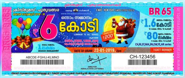 Kerala Christmas New Year Bumper Lottery Result 2019 winners