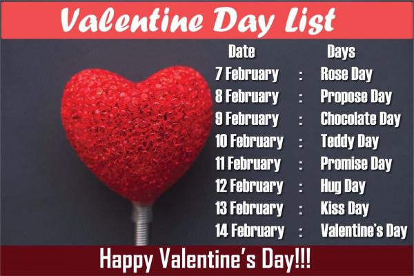 valentine day week list 2019